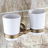 Continental Antik Kupfer Doppel-Becherhalter auf Bürsten Tassen-Set Zahnbürste Box Ceramic Cup Set-B