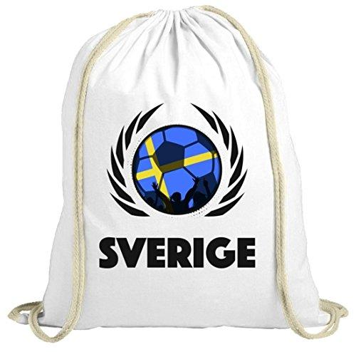 Sverige Sweden Soccer Fussball WM Fanfest Gruppen Fan natur Turnbeutel Gym Bag Fußball Schweden weiß natur
