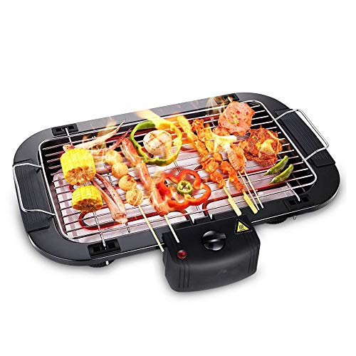 Cool-Touch Elektrischer Grill Elektrogrill Balkon Tischgrill Grill für Einfache Reinigung Dank Abnehmbarer Grillplatte, schwarz Tischgrill/Partygrill