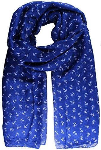 kukubird Anchor print long shawls/scarves/wraps/head scarf/pashmina - SMALL BLUE