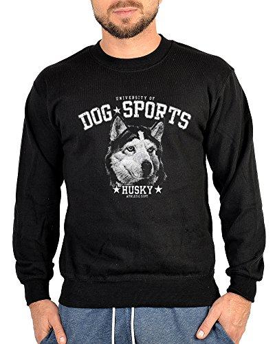 Unbekannt Husky Hunde Pullover Hunderassen Motiv Sweater Sweatshirt: Husky Gr XL (Fb schwarz)