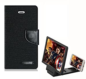 Aart Fancy Wallet Dairy Jeans Flip Case Cover for Asuszen-5 (Black) + 3D SCREEN MAGNIFIER - HD VIDEO AMPLIFIER - with Stylish foldable holder stand by Aart Store.
