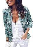 Minetom Damen Frühling Blouson Mode Floral Baseball Mantel Tops Coat Bomberjacke Bikerjacke Reißverschluss Fliegerjacke Kurzjacke 01 Grün DE 34