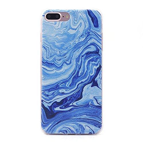 iProtect TPU Schutzhülle Apple iPhone 7 Plus, iPhone 8 Plus Softcase Hülle Marmor Edition in schwarz gold marmoriert Marmoriert blau
