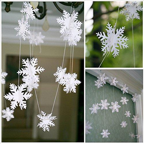 HENGSONG Blanc 3D Guirlande Ornements Flocon Neige Mariage Décoré Noël Nouvel An