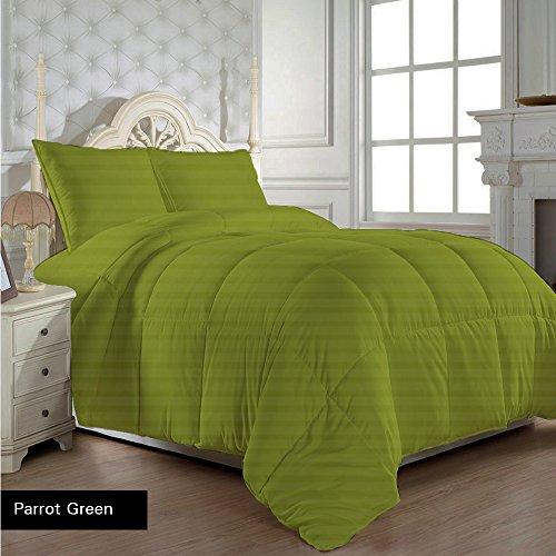 Super Weich aus ägyptischer Baumwolle 300Fäden/cm² mit Kuscheltier Blatt 300g/m² King Size Grün Papagei 300TC gestreift 100% Baumwolle -