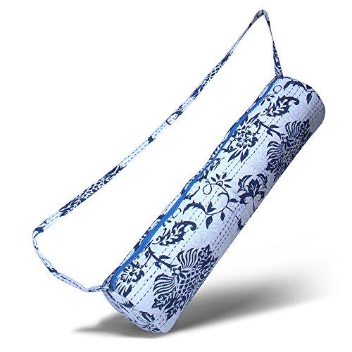 Sac de yoga »Kumari« de #DoYourYoga / Fait à la main, 100% coton avec broderies kantha. HAUTE QUALITÉ. Modèle : bleu-blanc