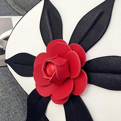 BZLine® Frauen Rosen Handtasche Umhängetasche Tasche Messenger Tasche Weiß