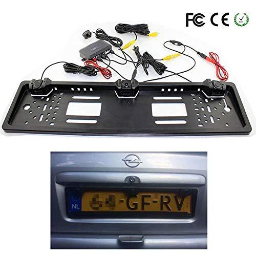 1 europäischer Nummernschildrahmen + 1 Rückfahrkamera für Autos + 2 Parksensor Auto-Nummernschildrahmen für Kfz-Kennzeichen -