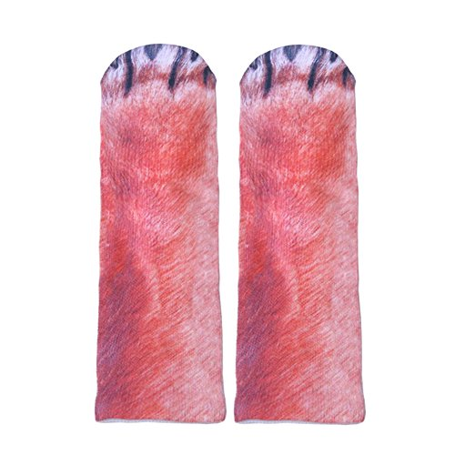 ODN 3D Tier Pfote Crew Gedruckt Socken Erwachsene Herren Damen Polyester Socken Lustige Socken für Geburtstags Karneval Weihnachten Halloween Party (Hund) (Hund Kostüme Für Halloween)