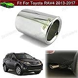Nuevo OEM 1pcs color de plata doble de acero inoxidable de escape Silenciador Trasera Tubo de escape punta extensión de escape tubos ajuste personalizado para Toyota RAV42013201420152016