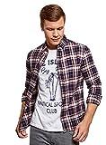 oodji Ultra Herren Karo-Hemd aus Baumwolle, Blau, Herstellergröße 42,5 (Kragenweite 42,5 cm)/ DE 52-54 / L