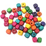 Beadsnfashion Jewellery Making Wooden Cube Beads Assorted 6 Mm, Pack Of 50 Grams