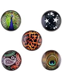 Morella señorías small Click-Button Set 5 pcs botones 12 mm diámetro Leoprint con Paisley y estrellas