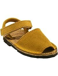 15091S - Sandalias ibicencas con velcro serraje amarillo