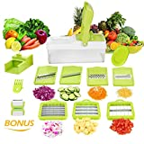 Mandoline 10 en 1 Multifonction Professionnelle Couper les Legumes Fruit Citron Vert 7 Lames...