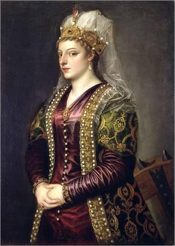 Holzbild 50 x 70 cm: Caterina Cornaro gekleidet als Heilige Katharina von Alexandrien von Tiziano Vecellio / Bridgeman Images