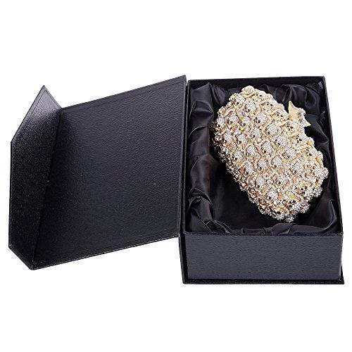 Santimon Clutch Delle Donne Caso di Stile Vestito Diamante Clutch Borsellini Strass Diamante Cristallo Borsa Con Tracolla Amovibile 3 Colori oro