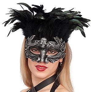 Carnival Toys - Máscara rococó de plástico duro plateado calavera con plumas en bolsa, color gris (785)