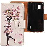 Lankashi PU Flip Funda De Carcasa Cuero Case Cover Piel Para LG Optimus G E973 E975 Umbrella Girl Design