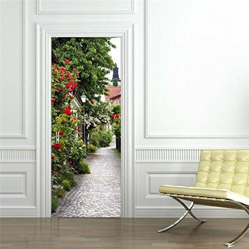 Beautyjourney 3D Mur Autocollant Art Decor Vinyle Amovible Murale Poster ScèNe FenêTre Stickers Plume Muraux Stickers Muraux Chambre Adulte Tete De Lit (Vert)