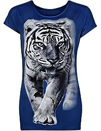 Womens Plus Tiger Animal Print Ladies Short Sleeve T-Shirt Top - 14-20