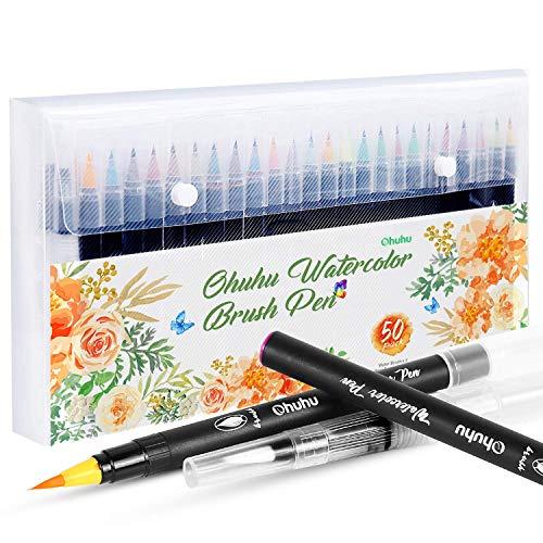 Brush Pen Set, Ohuhu 48 Farben Aquarell Pinsel Marker Stifte W/A Wasserfarbe Bürste, Weiche, flexible Spitze für Malbücher des Erwachsenen, Manga, Comic, Kalligraphie - Pinsel Flexible