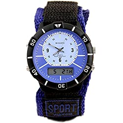 Shaon Men's Quartz Watch with Black Dial Analogue Digital Display and Nylon Strap 42-6905-99