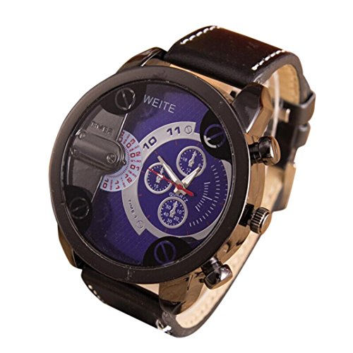 Yogogo Herren Luxus Quartz Analog Armbanduhr, 1 Cent Artikel | Lederband | Dekoration | Geschenk | Metallgehäuse | Quarzwerk | 2cm Bandbreite | 24cm Bandlänge