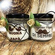 Ti voglio bene Papà 2 vasetti con candele di cera di soia e oli essenziali - Idea Regalo Festa del Papà Regalo