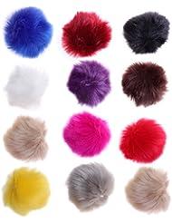 ultnice 12PCS Falso pelliccia Pom Poms Fluffy sfera per maglieria cappelli sciarpe Sacchetti Charmes
