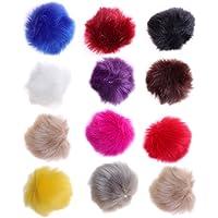 ultnice 12Stück Faux Fur Pom Poms DIY Fluffy Ball-Strickwaren Hüte Schals Handtaschen charms