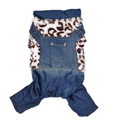 Yunt Hundebekleidung Winter Herbst Anzug Pullover Leopard Denim Jumsuit für kleine mittelgroße Haustier Hunde Katzen (Denim Gefärbte)
