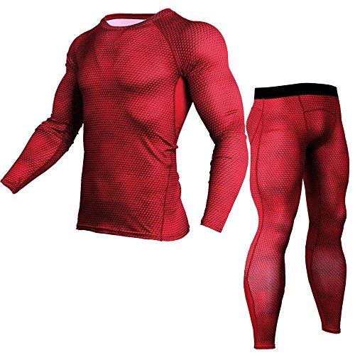 Ginli UOMOGO Leggings Sportivi Uomo Maglia Eleganti Leggings Sport Opaco Yoga Fitness Spandex Palestra Pantaloni Leggins