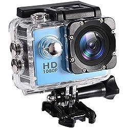 Mugast Caméra Sport DV, 7Couleurs Mini Caméscope Etanche Portable de Haute Définition Résistant à l'eau Jusqu'à 30Mètres Support Carte Mémoire 32G (Bleu)