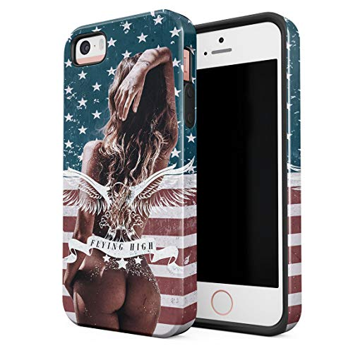 Cover Universe Hüllen für iPhone 5 / 5s / SE Hülle, American Hot Nude Girl Eagle Flying High USA Flag stoßfest, zweilagig mit Hardcase aus PC + Hülle aus TPU, hybride Case Handyhülle (Se Girl Hot)
