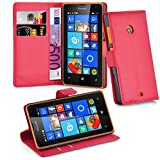 Cadorabo - Book Style Hülle für Nokia Lumia 435 - Case Cover Schutzhülle Etui Tasche mit Standfunktion und Kartenfach in KARMIN-ROT