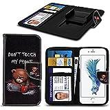 Spyrox - Blackview Bv6000 Case PU-Leder gedruckt Dont My Phone Text Teddybär-Entwurf Muster-Mappen Clamp-Art-Frühlings-Haut-Abdeckung Berühren