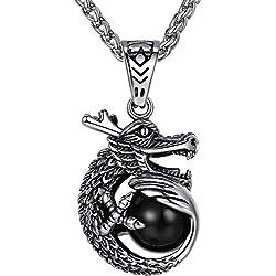 Aoiy - Collar con colgante de hombre de acero inoxidable, dragón con ónix negro, cadena de 61cm, aap060he