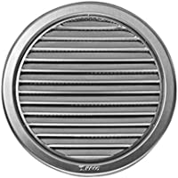 Edelstahl Lüftungsgitter - Abluftgitter - rund - mit Flansch/Rohranschluß und Insektenschutz: Deckmaß: 127 mm  (NVM-100)