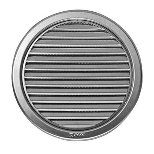 Edelstahl Lüftungsgitter - Abluftgitter - rund - mit Flansch/Rohranschluß und Insektenschutz: Deckmaß:180 mm (VM-150-N) (Kamin Hohe Decken,)