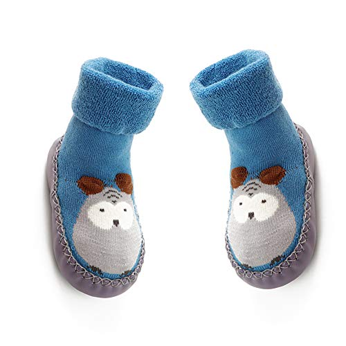Wudi 13cm Baby-Rutschfeste Socken Schuhe atmungsaktiv Stiefel Cartoon Hausschuhe für Kinder Blau Baumwolle, Kleinkinder, Neugeborene