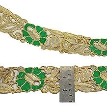 Bordado de la cinta verde de la tela 5,3 Cm Cinta ancha Sari indio por el astillero
