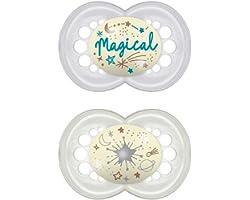 MAM Original Night 6+ (2 unidades), Chupetes luminosos que brillan en la oscuridad, chupete ortodóntico y anti irritaciones,