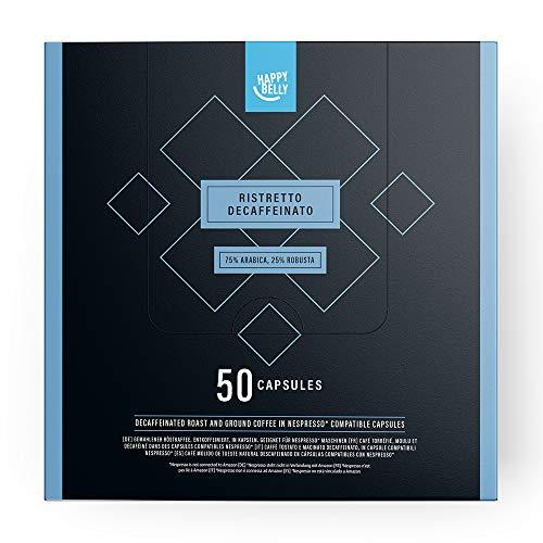 Marca Amazon - Happy Belly Ristretto Decaffeinato- Café UTZ molido de tueste natural descafeinado l en cápsulas (compostables) compatibles con Nespresso, 50 cápsulas