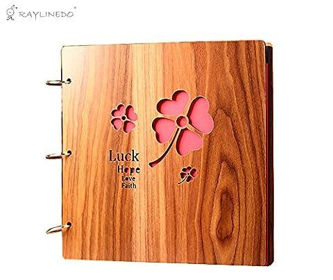 raylinedo® 40,6cm Qualität Holz verdeckt Carving Personalisierte DIY Fotoalbum Holz Made Ring Binder Book Style Bilderrahmen Scrapbook für Hochzeit Baby Jahrestag Happy Memory–30Blatt (60pages)