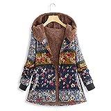 WWricotta Womens Winter Warm Outwear Printed Hooded Pockets Vintage Oversize Coats(Blau,XL)