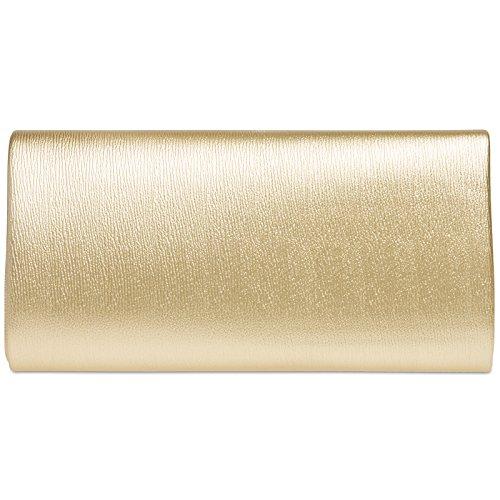 CASPAR TA371 Damen Baguette Clutch Tasche Abendtasche Gold