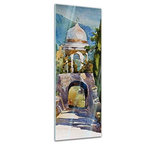 Bilderdepot24 Glasbild Aquarell - Türkisches Gartenhaus - 30 x 90 cm - Deko Glas - brilliante...