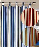 heimtexland Gardine Natur Schlaufenschal Blickdicht bunt gestreift HxB 260x140 cm Kürzbar - 100% Baumwolle - schwere weichfliesende Qualität schöner Fall …auspacken, aufhängen, fertig! Vorhang Typ247